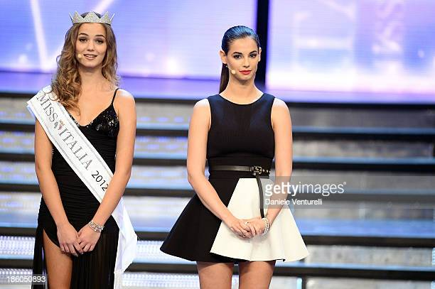 Giusy Buscemi and Francesca Chillemi attend the 2013 Miss Italia beauty pageant at the Pala Arrex on October 27 2013 in Jesolo Italy