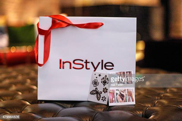 Give away bag at the InStyle Cocktail during the MercedesBenz Fashion Week Berlin Spring/Summer 2016 at Hotel Zoo on July 8 2015 in Berlin Germany