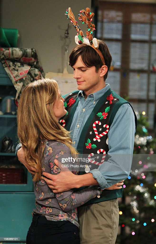 'Give Santa a Tail-Hole' -- Walden juggles having two identities - rich man and poor man, and Alan finds himself alone at Christmas, on TWO AND A HALF MEN, Thursday, Dec. 13 (8:31 - 9:01 PM, ET/PT) on the CBS Television Network. From left to right, Kate (Brooke D'Orsay) and Walden Schmidt (Ashton Kutcher ).