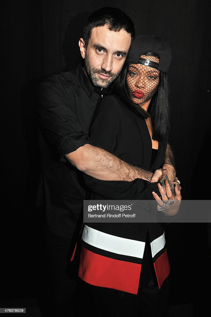 Givenchy designer Riccardo Tisci and Rihanna attend the Givenchy show as part of the Paris Fashion Week Womenswear Fall/Winter 2014-2015 on March 2, 2014 in Paris, France.