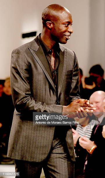 Givenchys' designer Ozwald Boateng at the Givenchy Fall Winter 20062007 Menswear Collection presented in Paris