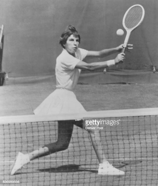 Gives it the Back of her HandBrazil's Maria Bueno makes point with backhand shot in second set of first round match at Forest Hills Queens today...