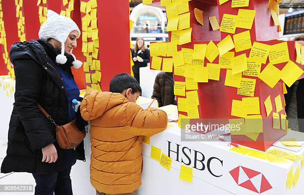 HSBC gives the public a gentle 'nudge' to encourage people to persevere with their New Year's Resolutions with a 'Postit note' wall of letters at...