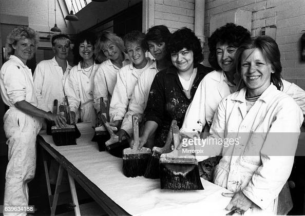 Giving men the brush off women who are aiming for equal opportunities on the painting and decorating course at New College Durham on 14th June 1989