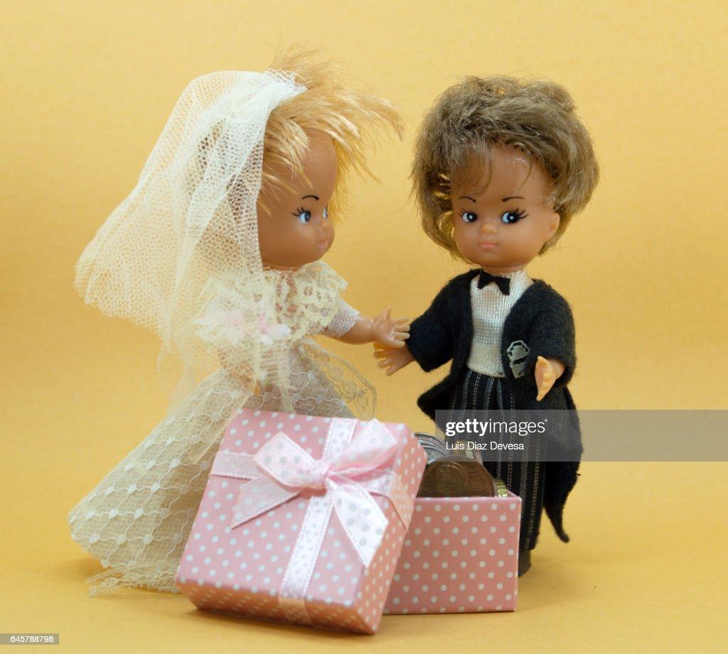 Giving Money As A Wedding Gift Stock Photo