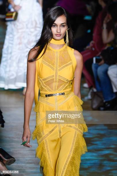 Gizele Oliveira walks the runway during the Elie Saab show as part of the Paris Fashion Week Womenswear Spring/Summer 2018 on September 30 2017 in...