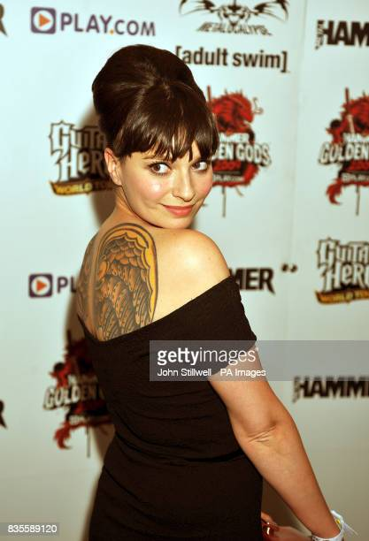 Gizzi Erkstein arrives at the Indigo concert venue for the Metal Hammer Golden Gods awards at the O2 Arena in Greenwich south East London