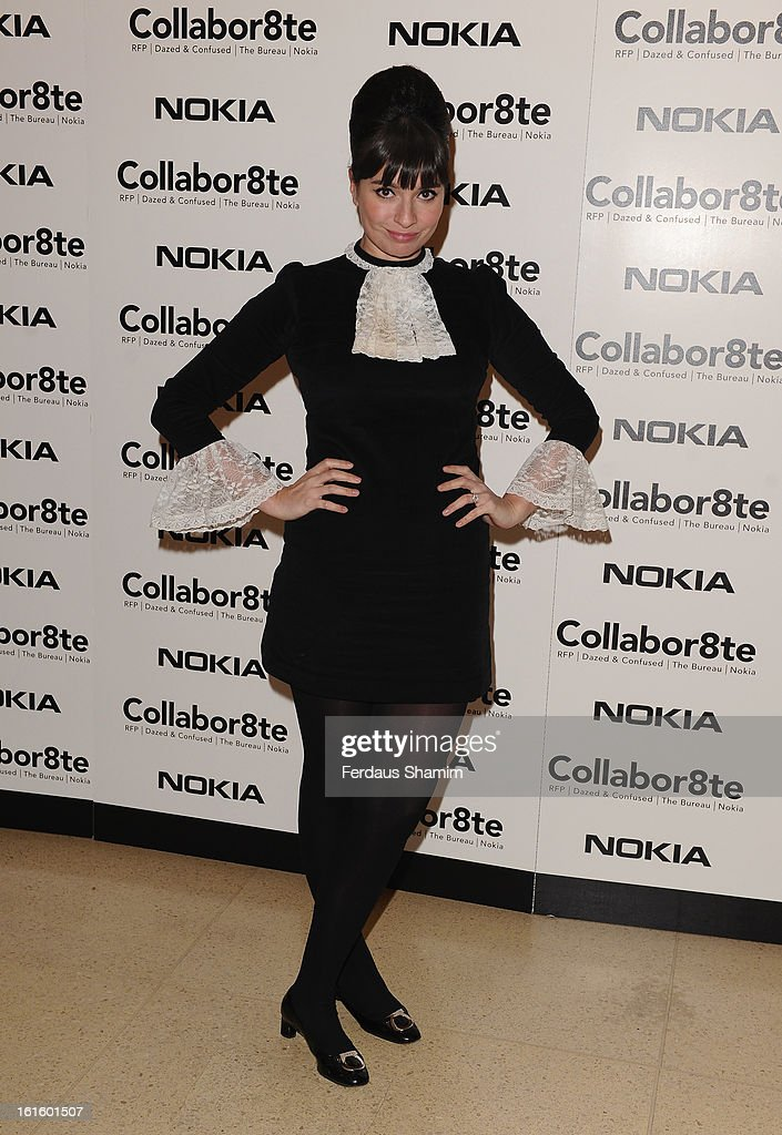 Gizzi Erskine attends the premiere of Rankin's Collabor8te connected by NOKIA at Regent Street Cinema on February 12, 2013 in London, England.