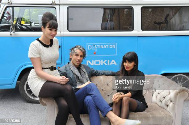 Gizzy Erskine George Lamb and Jameela Jamil attend Nokia Destination E7 PopUp Store Brings Best of British to Brick Lane on May 15 2011 in London...