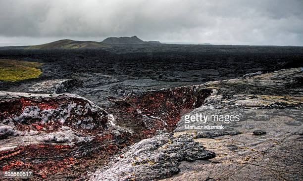 Gjastykki barren lava land and Krafla in distance