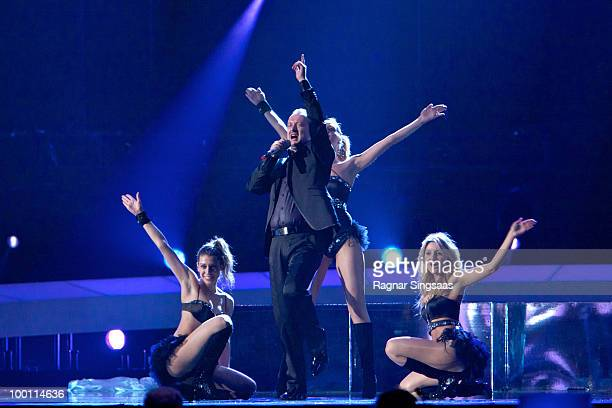 Gjoko Taneski of FYR Macedonia performs at the rehearsal at the Telenor Arena on May 21 2010 in Oslo Norway In all 39 countries will take part in the...