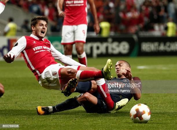 Gökhan Inler of Medipol Basaksehir in action against Bruno Xadas of Sporting Braga during the UEFA Europa League Group C match between Sporting Braga...