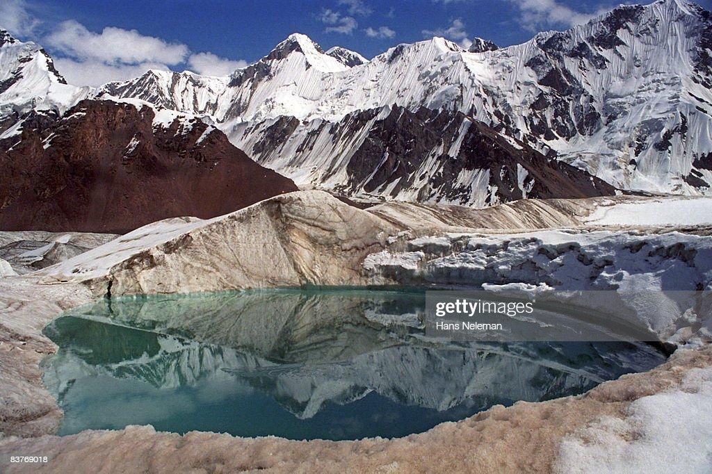 Glacial lake, glacier Northern Inylchek : Stock Photo