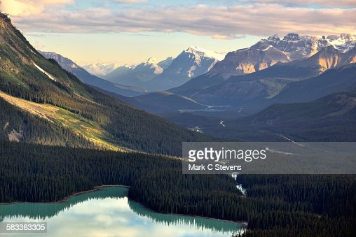 A glacial valley with mountains all around