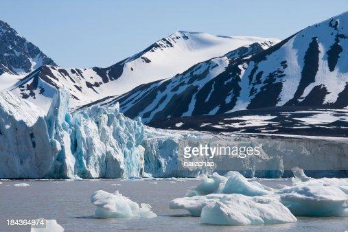 Glacier and Icebergs around Svalbard in the Arctic