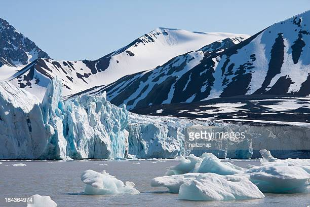 Glacier and Icebergs around Svalbard in the Arctic
