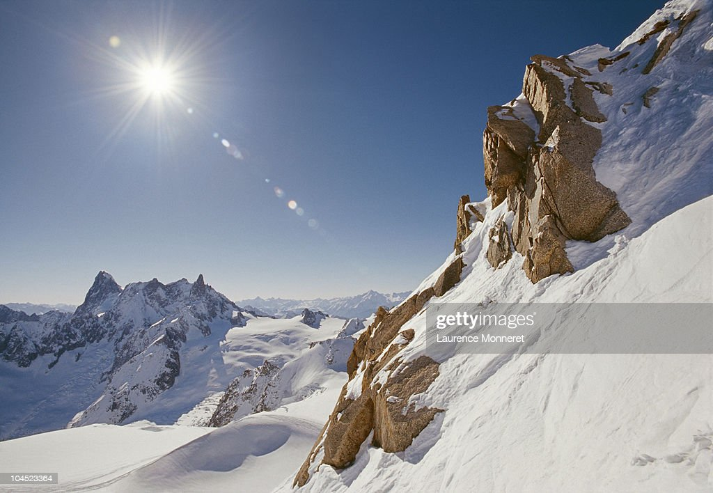 Glacier of White Valley from Aiguille du Midi : Stock Photo