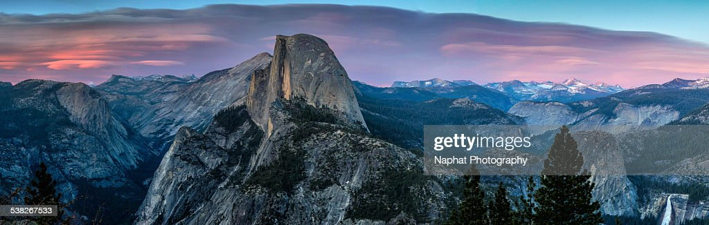 The beautiful sunset panorama at Glacier Point overlook.