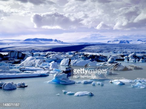 Glaciers floating on arctic waters