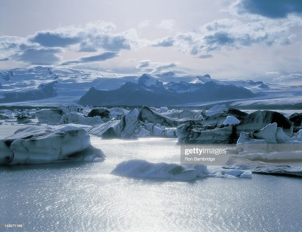 Glaciers floating on arctic waters : Stock Photo