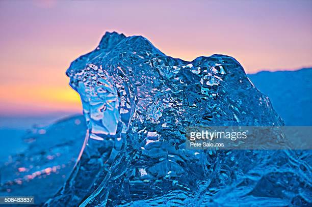 Glaciers melting on arctic beach