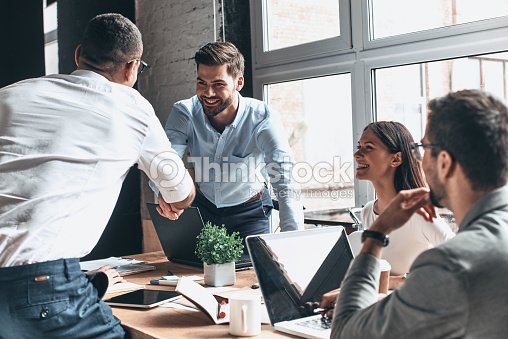 Glad to work with you! : Stock Photo