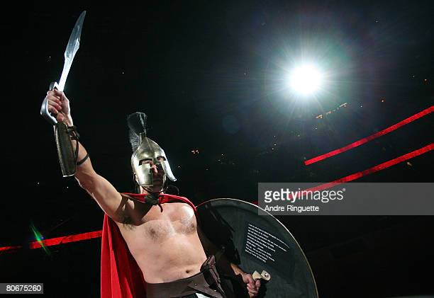 A gladiator addresses the crowd prior to a game between the Ottawa Senators and the Pittsburgh Penguins during game three of the 2008 NHL conference...