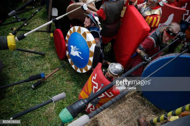 Gladiators from the camp called 'Rome' do battle on the front lines at Ragnarok XXXII on June 21 2017 For one week each summer the World has come to...