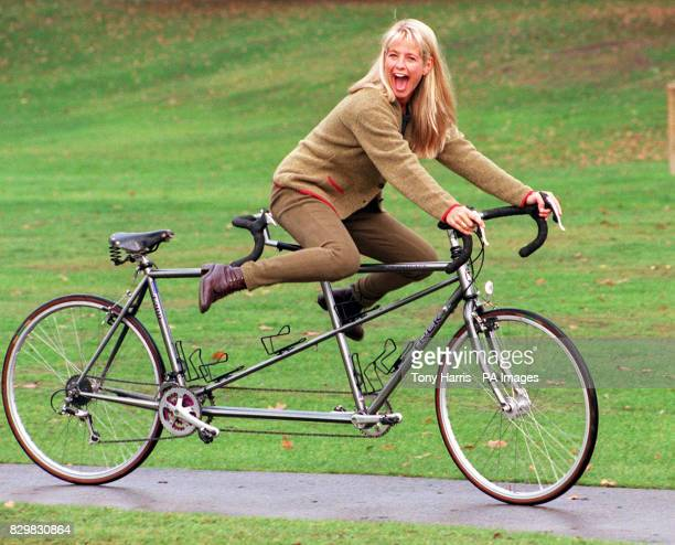 Gladiators presenter Ulrika Jonsson cycles through Hyde Park where she was launching a pioneering development for activity holidays in the Grampian...