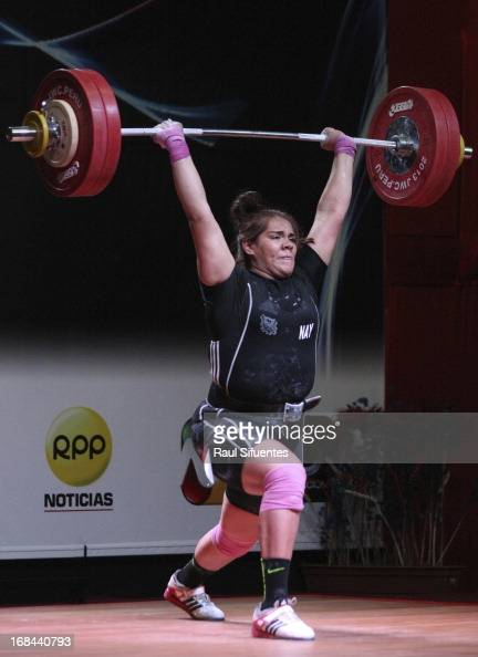 Gladis Bueno of Mexico A competes in Women's 75kg during day six of the 2013 Junior Weightlifting World Championship at Maria Angola Convention...