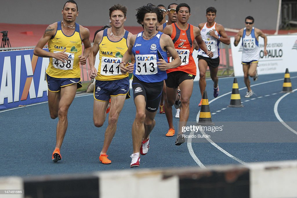 Gladson Alberto Silva Barbosa (#513), Celson Ficagna (#441) and Andre Alberi de Santana (#438), from Brazil, competes in the 3000 Meters Steeplechase Final event during the third day of the Trofeu Brazil/Caixa 2012 Track and Field Championship at êcaro de Castro Mello Stadium on June 29, 2012 in Ibirapuera, Sao Paulo, Brazil.