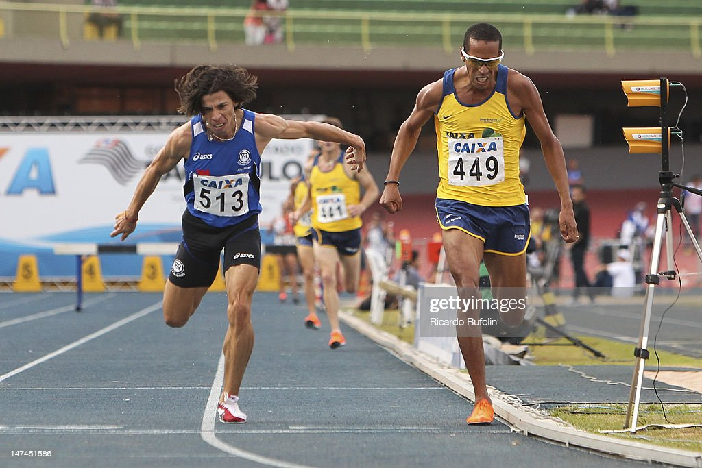 Gladson Alberto Silva Barbosa (#513), Hudson Santos de Souza (#449), from Brazil, competes in the 3000 Meters Steeplechase Final event during the third day of the Trofeu Brazil/Caixa 2012 Track and Field Championship at êcaro de Castro Mello Stadium on June 29, 2012 in Ibirapuera, Sao Paulo, Brazil.