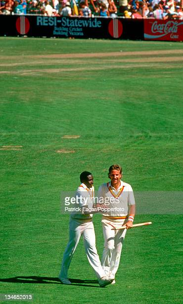 Gladstone Small and Ian Botham after the winning of the Ashes Australia v England 4th Test Melbourne December 198687