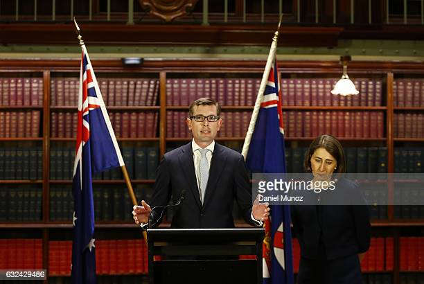 Gladys Berejiklian and Dominic Perrottet during a press conference after being elected as the Leader and Deputy Leader of the NSW Liberal Party on...