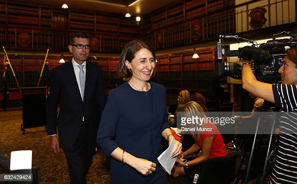 Gladys Berejiklian and Dominic Perrottet leave a press conference after being elected as the Leader and Deputy Leader of the NSW Liberal Party on...