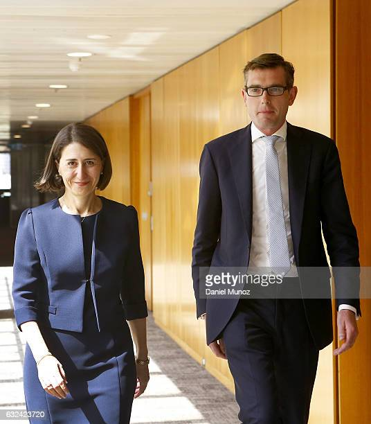 Gladys Berejiklian and Dominic Perrottet leave the Liberal Party meeting after being elected as Leader and deputy leader respectively on January 23...