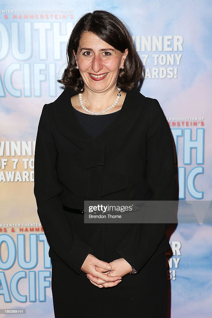 Gladys Berejiklian arrives at Opera Australia's 'South Pacific' opening night at the Sydney Opera House on September 12, 2013 in Sydney, Australia.
