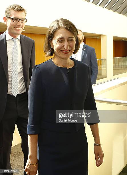 Gladys Berejiklian arrives to the Liberal Party meeting to choose their Leader after the resignation of Mike Baird on January 23 2017 in Sydney...
