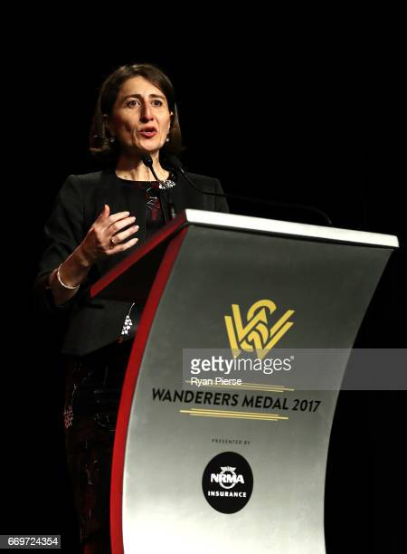 Gladys Berejiklian Premier of New South Wales speaks during the Western Sydney Wanderers Medal Night at the International Convention Centre on April...