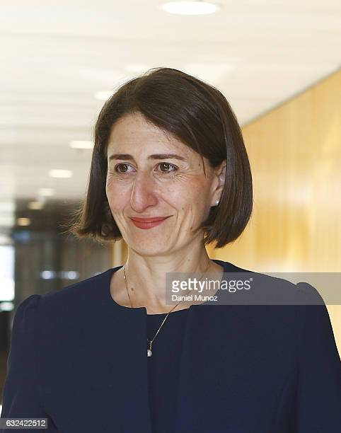 Gladys Berejiklian smiles after being elected as the Leader of Liberal Party after the resignation of Mike Baird on January 23 2017 in Sydney...