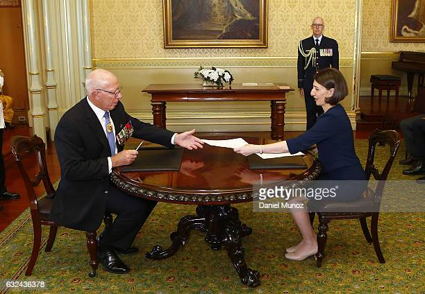 Gladys Berejiklian smiles as she is sworn in as NSW Premier by NSW Governor David Hurley on January 23 2017 in Sydney Australia Berejiklian sworn in...