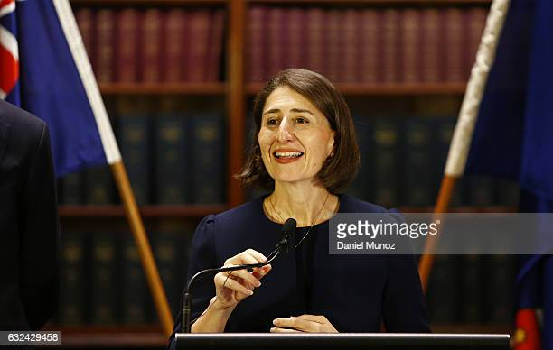 Gladys Berejiklian smiles during a press conference after being elected as the Leader of Liberal Party on January 23 2017 in Sydney Australia...