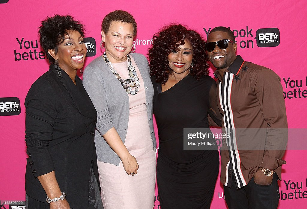 Gladys Knight, chairman/CEO of BET Networks Debra Lee, Chaka Khan and Kevin Hart attend BET Networks 2013 Los Angeles Upfront at Montage Beverly Hills on April 2, 2013 in Beverly Hills, California.