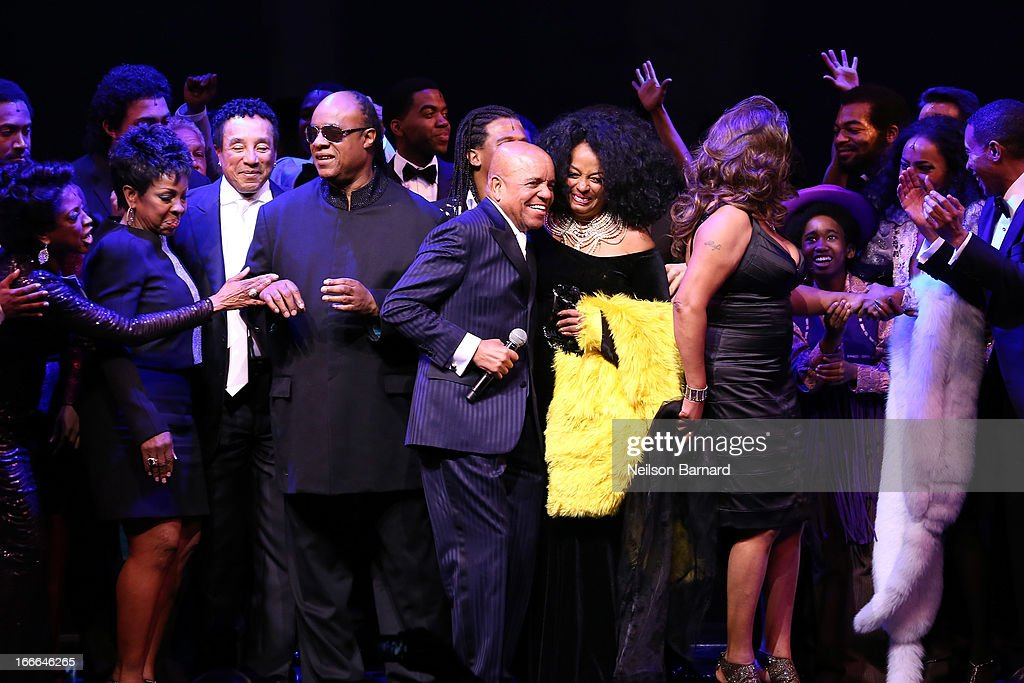 Gladys Knight, <a gi-track='captionPersonalityLinkClicked' href=/galleries/search?phrase=Stevie+Wonder&family=editorial&specificpeople=171911 ng-click='$event.stopPropagation()'>Stevie Wonder</a>, Smokie Robinson, <a gi-track='captionPersonalityLinkClicked' href=/galleries/search?phrase=Berry+Gordy+Jr.&family=editorial&specificpeople=1541919 ng-click='$event.stopPropagation()'>Berry Gordy Jr.</a>, <a gi-track='captionPersonalityLinkClicked' href=/galleries/search?phrase=Diana+Ross&family=editorial&specificpeople=202836 ng-click='$event.stopPropagation()'>Diana Ross</a> and Mary Wilson attend the Broadway opening night curtain call on stage for 'Motown: The Musical' at Lunt-Fontanne Theatre on April 14, 2013 in New York City.