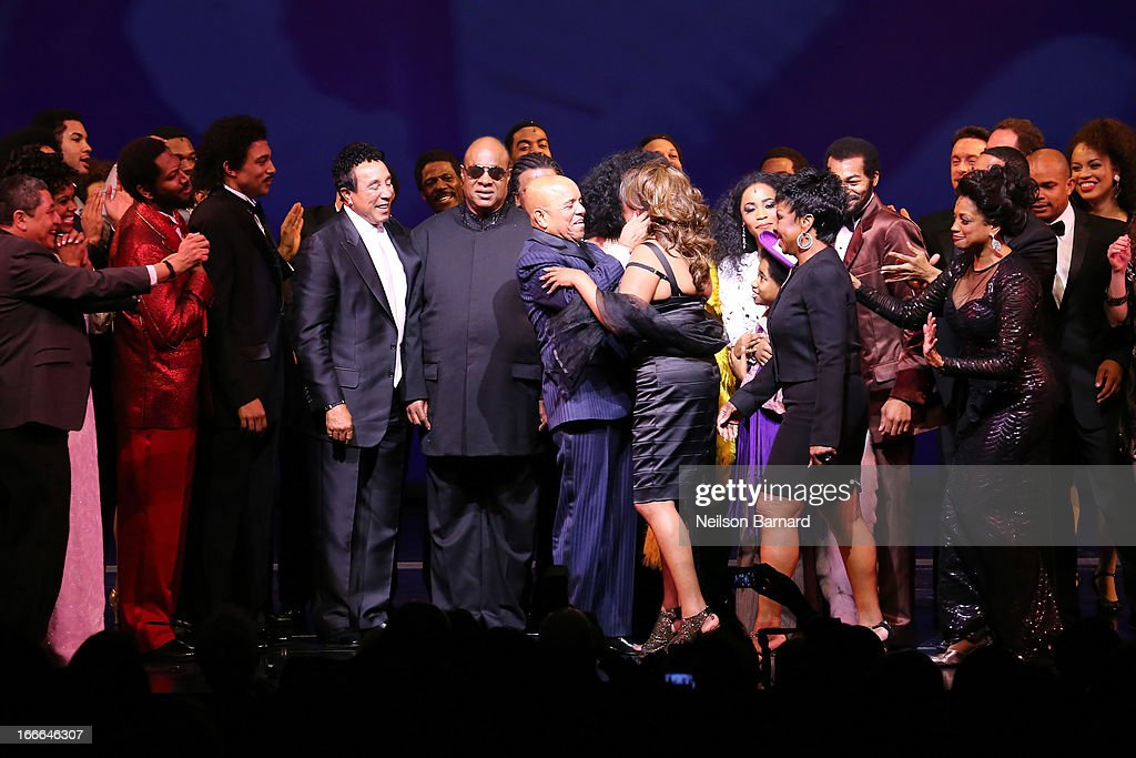 Gladys Knight, Stevie Wonder, Smokie Robinson, Berry Gordy Jr., Diana Ross and Mary Wilson attend the Broadway opening night curtain call on stage for 'Motown: The Musical' at Lunt-Fontanne Theatre on April 14, 2013 in New York City.