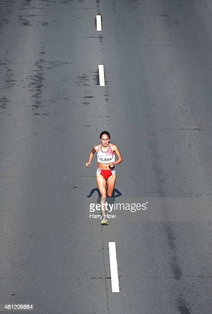 Gladys Tejeda of Peru runs to a gold medal in the women's marathon during the 2015 Pan Am games on July 18 2015 in Toronto Canada