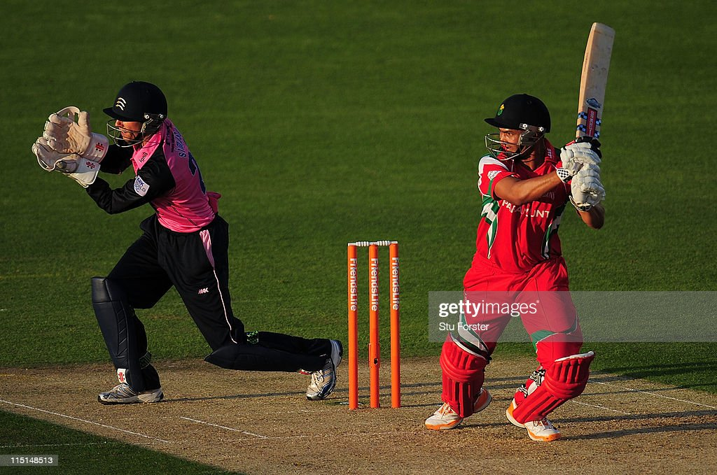 Glamorgan batsman <a gi-track='captionPersonalityLinkClicked' href=/galleries/search?phrase=Alviro+Petersen&family=editorial&specificpeople=4969996 ng-click='$event.stopPropagation()'>Alviro Petersen</a> hits out as Middlesex keeper Jon Simpson looks on during the Friends Life T20 match between Glamorgan and Middlesex at the Swalec Stadium on June 3, 2011 in Cardiff, Wales.