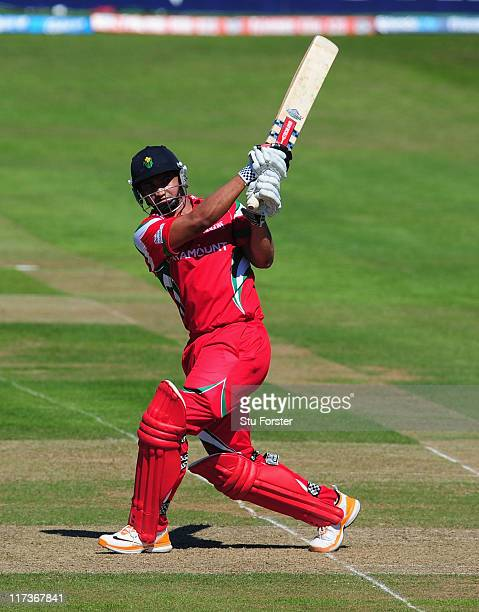 Glamorgan batsman Alviro Petersen hits out during the Friends Life T20 match between Somerset and Glamorgan at the county ground on June 26 2011 in...