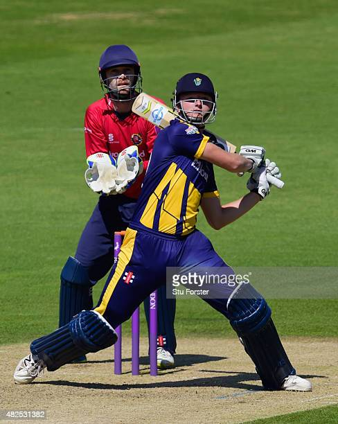 Glamorgan batsman Aneurin Donald hits out watched by Essex wicketkeeper James Foster during his century during the Royal London OneDay cup match...
