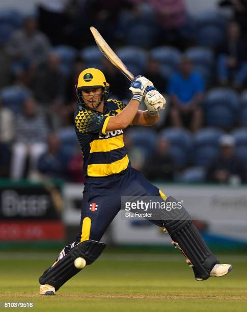 Glamorgan batsman Chris Cooke hits out during the NatWest T20 Blast match between Glamorgan and Hampshire at SWALEC Stadium on July 7 2017 in Cardiff...